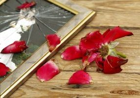 withered rose and broken wedding picture